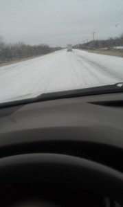 This was what the icy road looked like for most of the nine hours of the trip