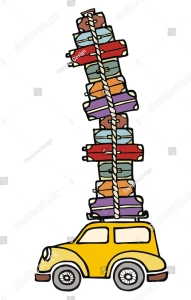 stock-photo-illustration-of-a-funny-car-with-a-lot-of-luggage-on-the-roof-34955209